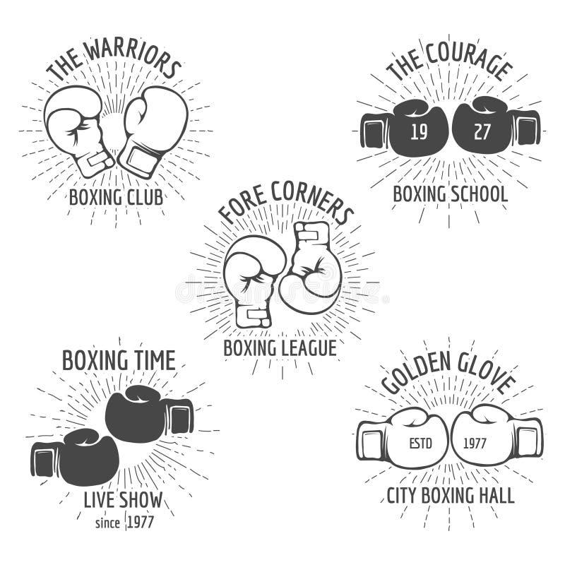 Grupo do logotipo do encaixotamento do vintage ilustração royalty free