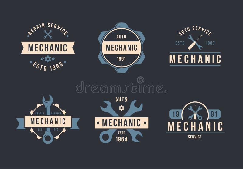 Grupo do logotipo do mecânico ilustração royalty free
