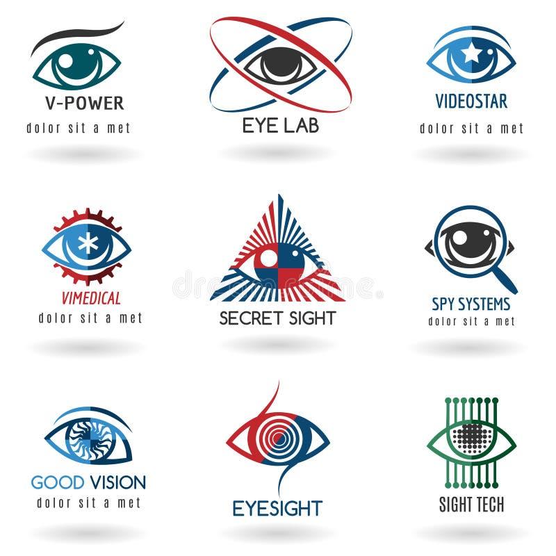 Grupo do logotipo do olho ilustração stock