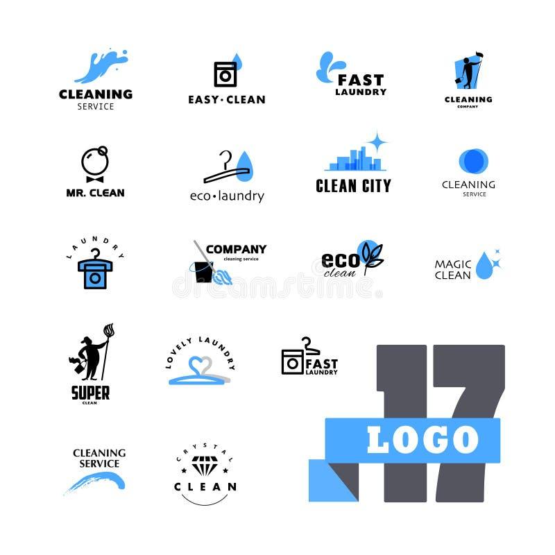 Grupo do logotipo do vetor para a empresa de limpeza ilustração do vetor