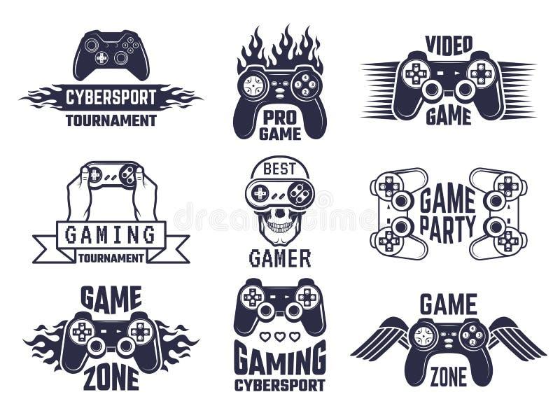 Grupo do logotipo do jogo Jogos de vídeo e etiquetas do esporte do cyber ilustração royalty free