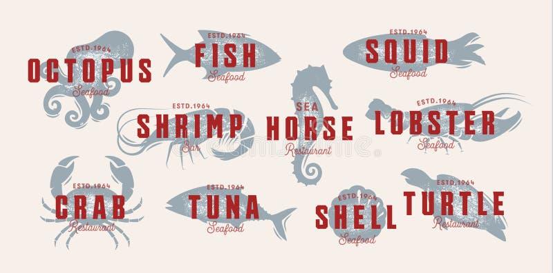 Grupo do logotipo do vintage do marisco Criaturas do mar, pesca ou emblemas do restaurante Molde retro do logotipo do estilo Idei ilustração royalty free