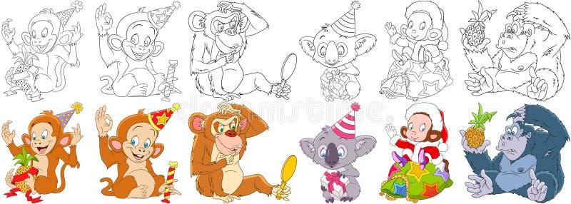 Grupo do macaco dos desenhos animados ilustração royalty free