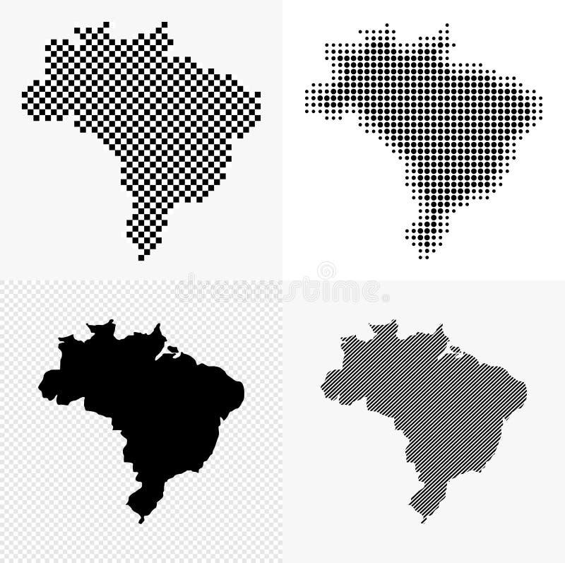 Grupo do mapa de Brasil ilustração do vetor
