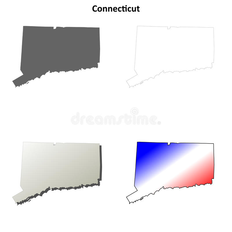 Grupo do mapa do esboço de Connecticut ilustração stock