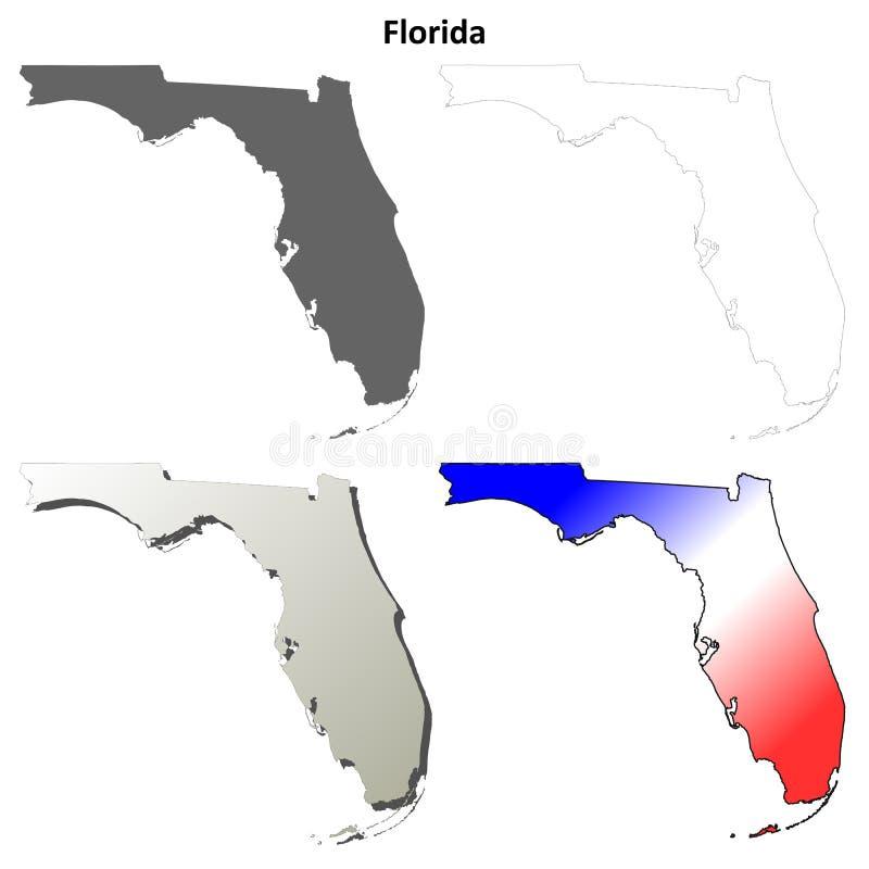 Grupo do mapa do esboço de Florida ilustração do vetor