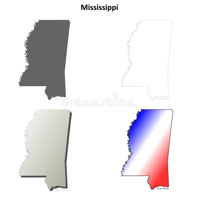 Grupo do mapa do esboço de Mississippi ilustração stock