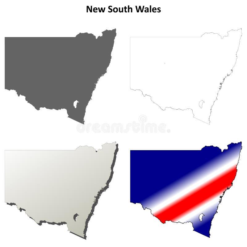Grupo do mapa do esboço de Novo Gales do Sul ilustração stock