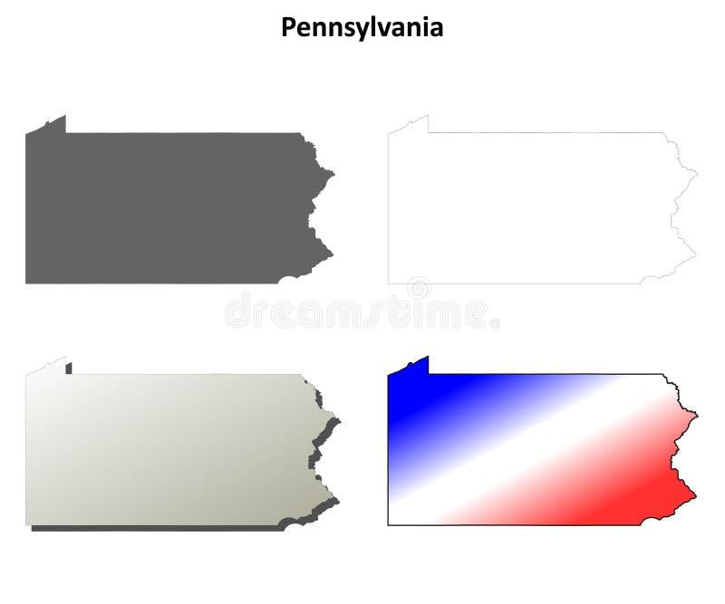 Grupo do mapa do esboço de Pensilvânia ilustração royalty free