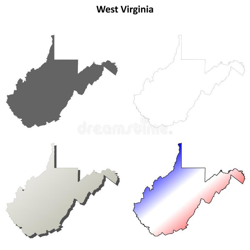 Grupo do mapa do esboço de West Virginia ilustração stock