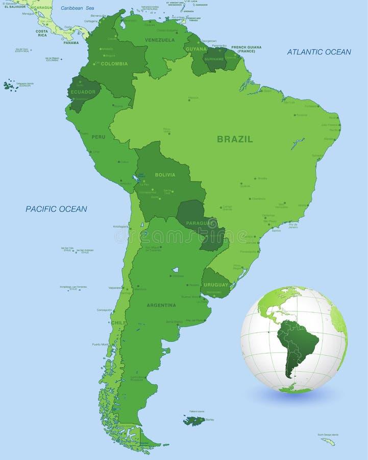 Grupo do mapa do vetor do verde de Ámérica do Sul ilustração do vetor