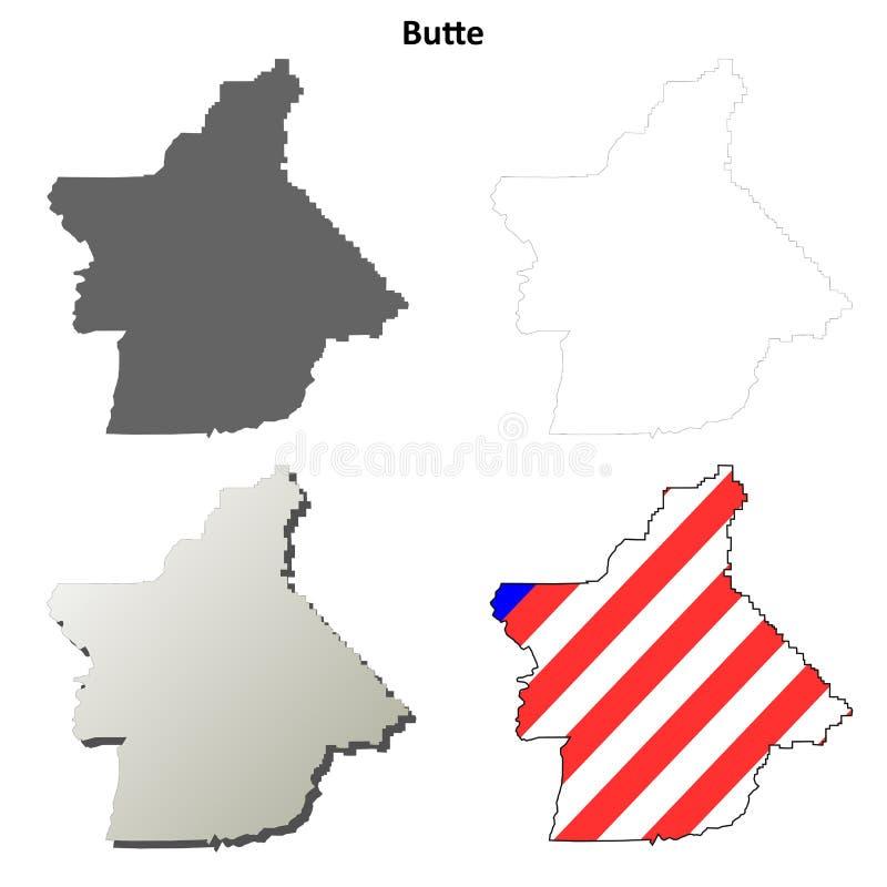 Grupo do mapa do esboço do Condado de Butte, Califórnia ilustração do vetor