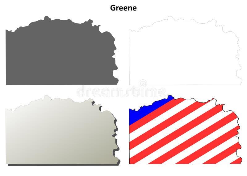 Grupo do mapa do esboço do Condado de Greene, Pensilvânia ilustração royalty free