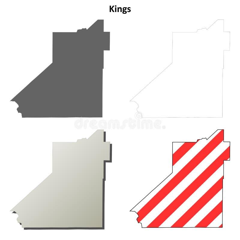 Grupo do mapa do esboço do Condado de Kings, Califórnia ilustração royalty free