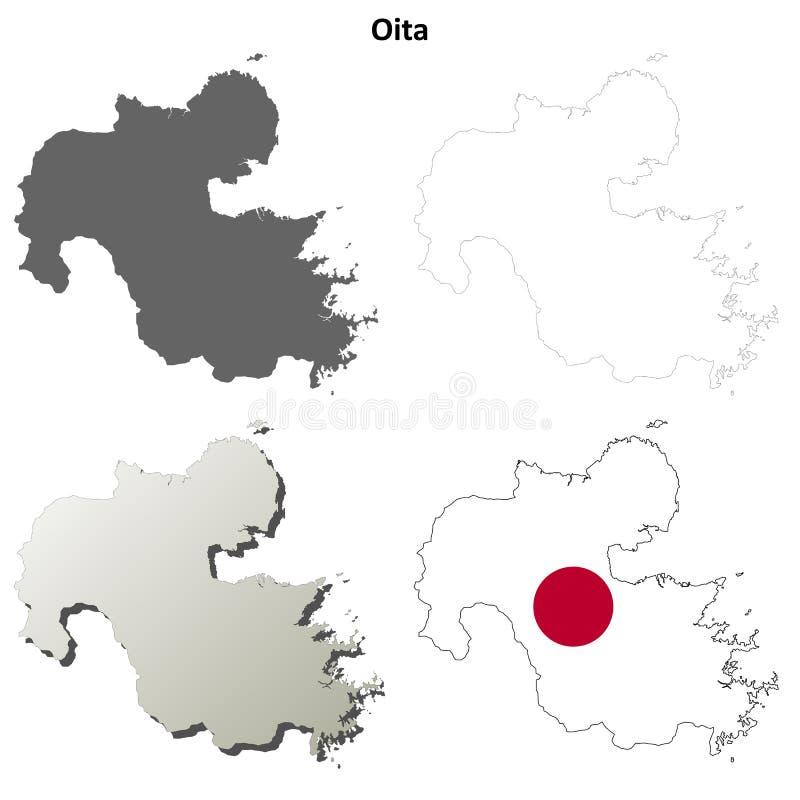Grupo do mapa do esboço da placa de Oita ilustração royalty free