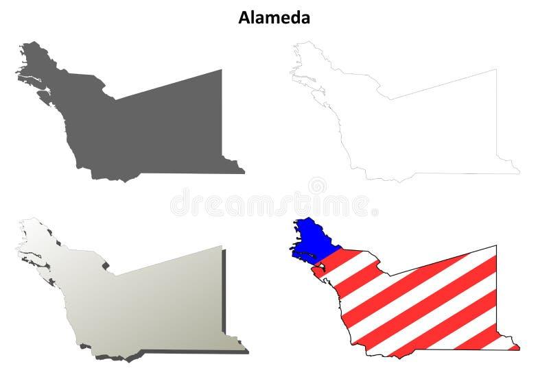 Grupo do mapa do esboço de Alameda County, Califórnia ilustração royalty free