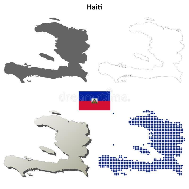 Grupo do mapa do esboço de Haiti ilustração royalty free