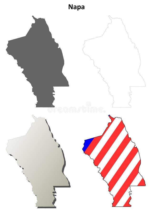 Grupo do mapa do esboço de Napa County, Califórnia ilustração royalty free