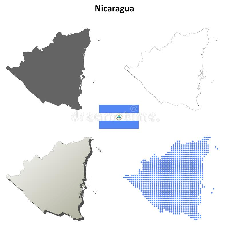Grupo do mapa do esboço de Nicarágua ilustração stock