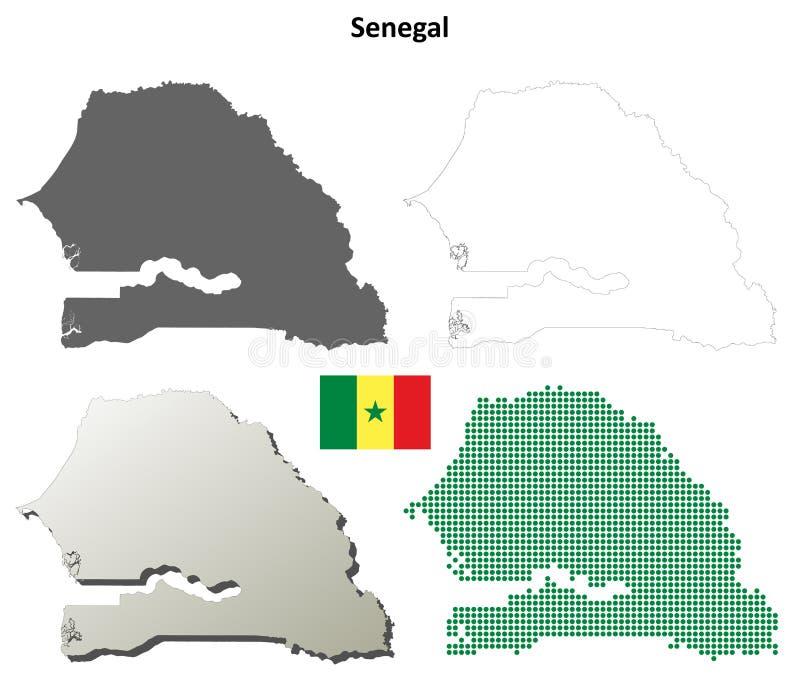 Grupo do mapa do esboço de Senegal ilustração stock