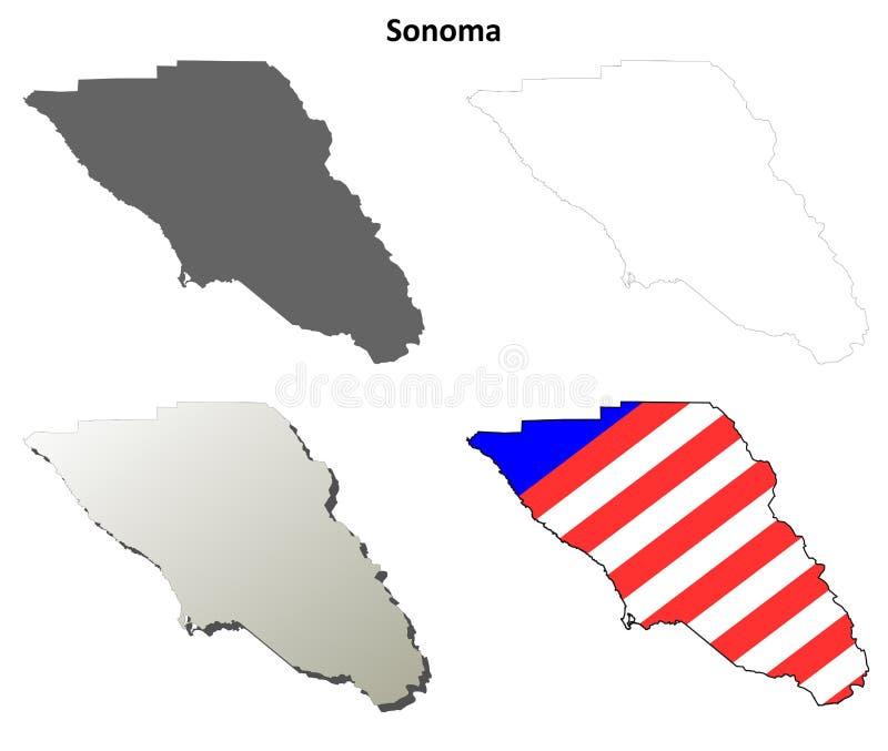 Grupo do mapa do esboço de Sonoma County, Califórnia ilustração stock