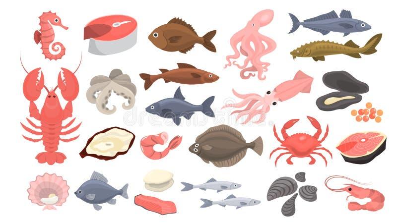Grupo do marisco Fatia dos salmões e camarão, marisco ilustração do vetor