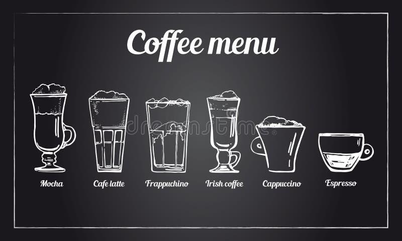 Grupo do menu do café Esboço tirado mão do vetor de tipos diferentes de bebidas do café no fundo do quadro-negro ilustração do vetor