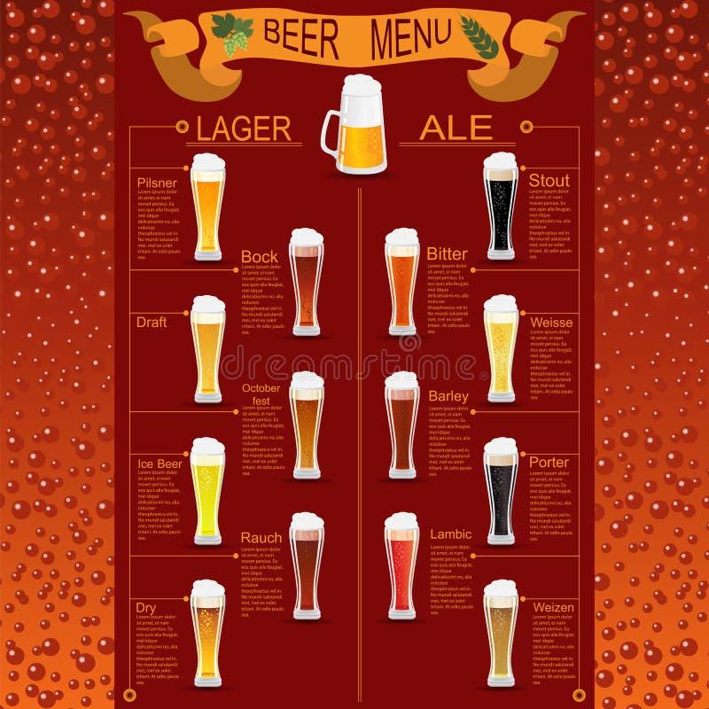 Grupo do menu da cerveja, criando seu próprio infographics ilustração royalty free