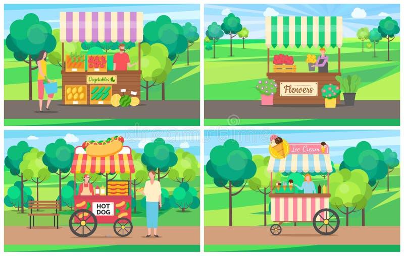 Grupo do mercado do verão da tenda do gelado do vegetal e ilustração stock