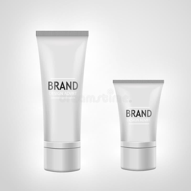 Grupo do modelo branco do tubo para o creme, pasta de dente, gel, tonalizador Conceito cosmético ilustração royalty free