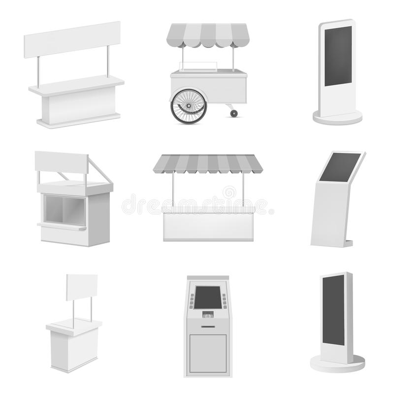 Grupo do modelo da cabine do suporte do quiosque, estilo realístico ilustração do vetor