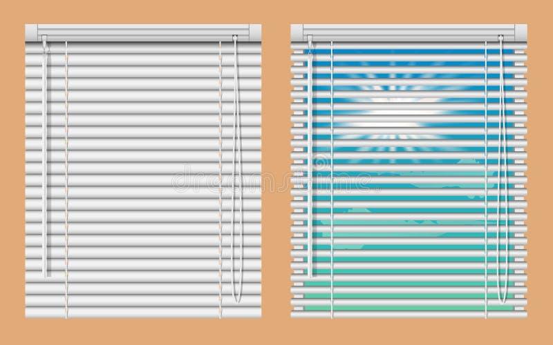 Grupo do modelo das cortinas de janela Vector janelas realísticas da ilustração com as cortinas cegas horizontais abertas e próxi ilustração royalty free