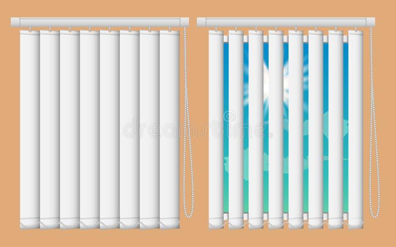 Grupo do modelo das cortinas de janela Vector janelas realísticas da ilustração com as cortinas cegas verticais abertas e próxima ilustração royalty free