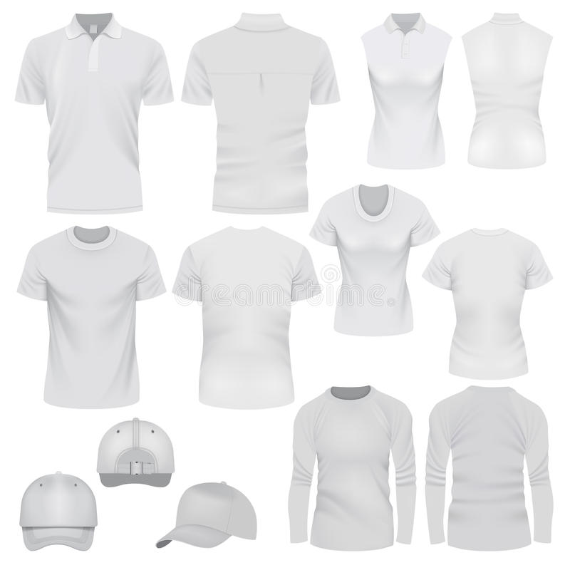 Grupo do modelo do tampão do t-shirt, estilo realístico ilustração stock