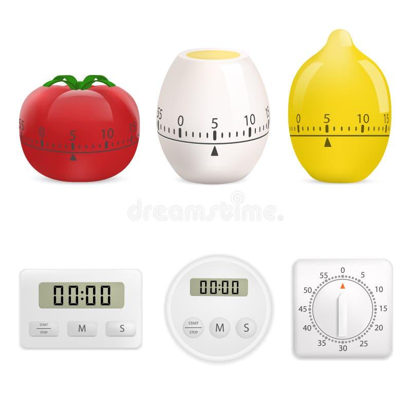 Grupo do modelo do temporizador da cozinha, estilo realístico ilustração stock