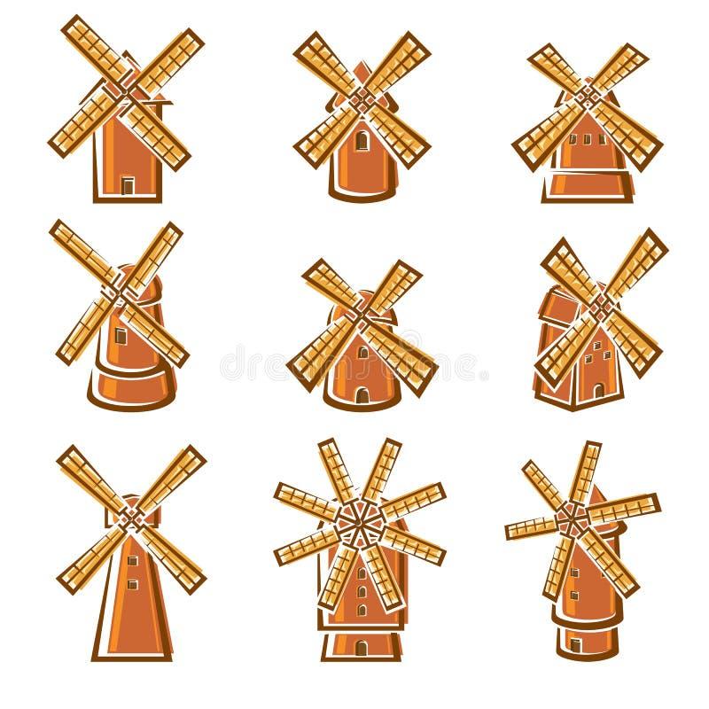 Grupo do moinho Vetor ilustração do vetor