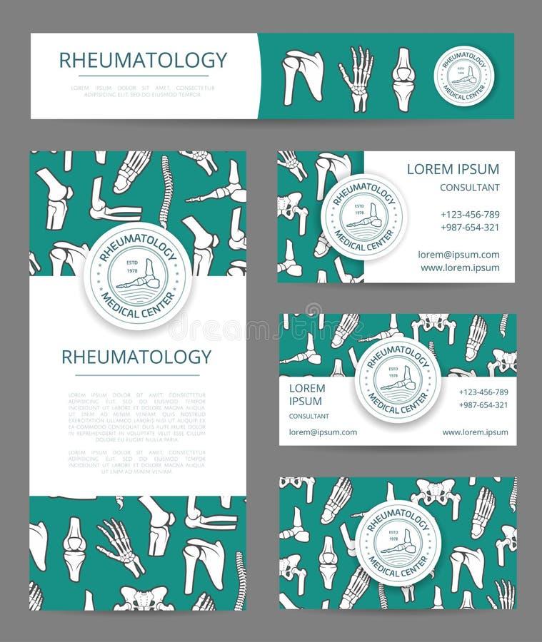 Grupo do molde da bandeira do centro médico da reumatologia ilustração do vetor