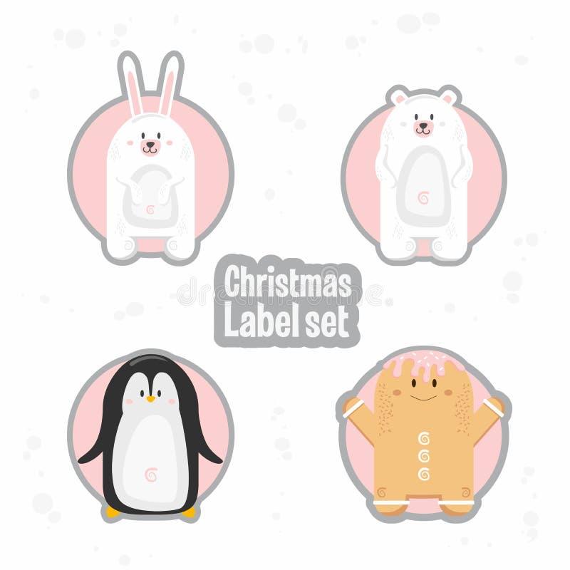 Grupo do molde das etiquetas do presente do Natal Vector a caixa imprimível do xmas ou as etiquetas da letra projetam Pinguim, ur ilustração stock