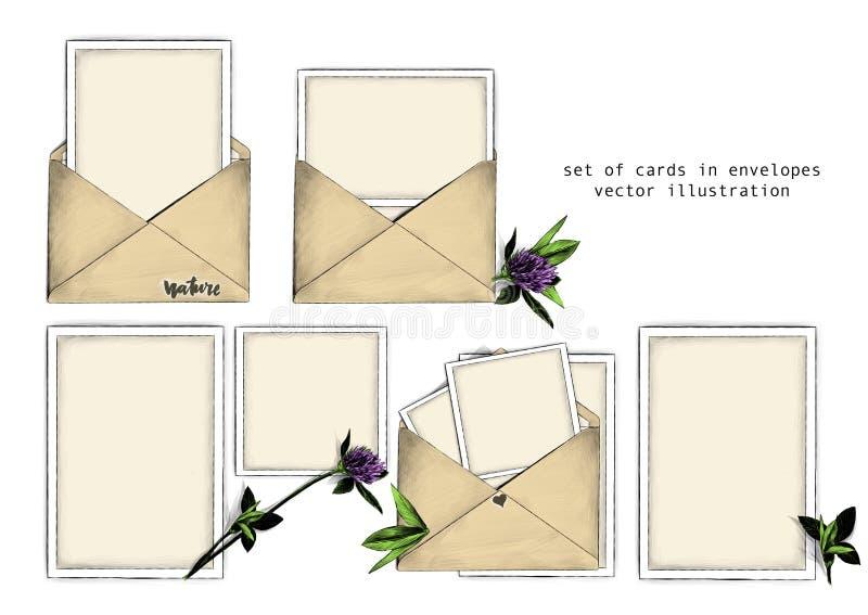 Grupo do molde de envelopes e de cartão abertos para dentro ao lado da flor do trevo com as folhas na composição bonita dos lados ilustração do vetor