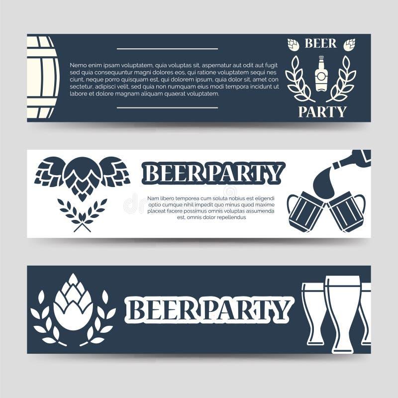Grupo do molde do partido da cerveja das bandeiras da Web ilustração do vetor