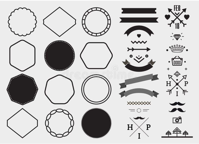 Grupo do molde do projeto do vetor, coleção para fazer o crachá, logotipo, selo ilustração royalty free