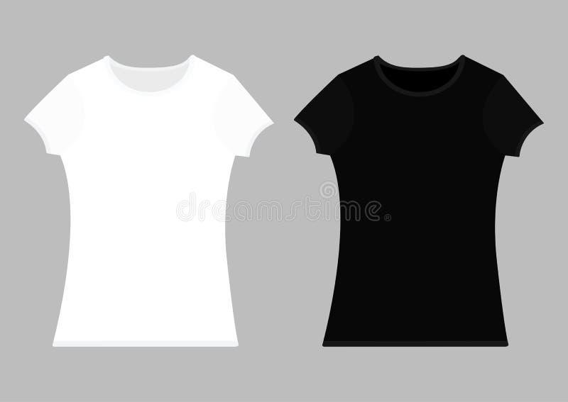 Grupo do molde do t-shirt Cor preta branca Modelo unisex da mulher do homem ilustração do vetor