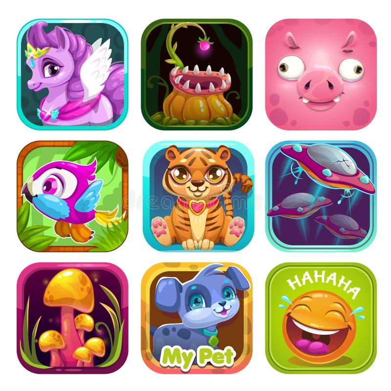 Grupo do molde do logotipo do ícone do App Ativos do jogo do vetor para o GUI ou o design web ilustração royalty free