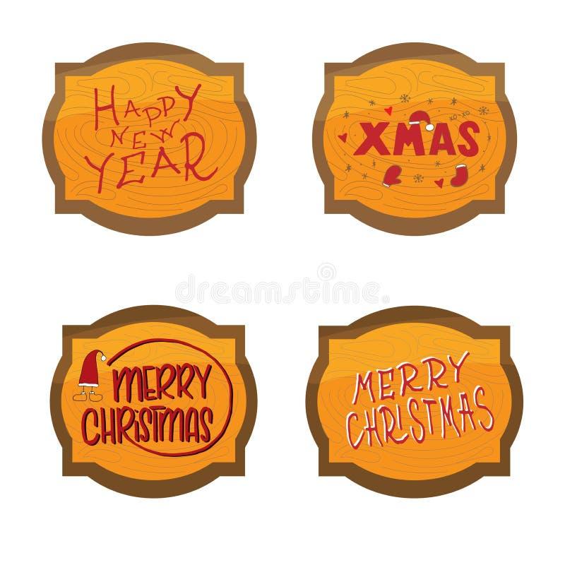 Grupo do molde do Natal e de ano novo, quadro com textura de madeira para cumprimentar, felicitações, convites, etiquetas, etique ilustração royalty free