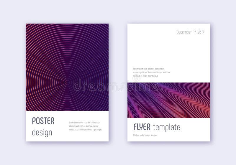 Grupo do molde do projeto da tampa de Minimalistic Abs violeta ilustração stock