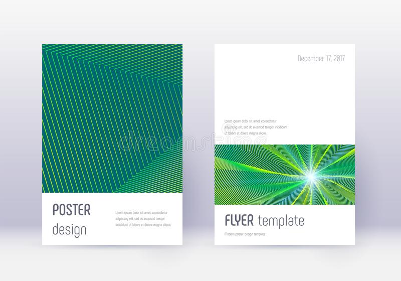Grupo do molde do projeto da tampa de Minimalistic Abst verde ilustração do vetor