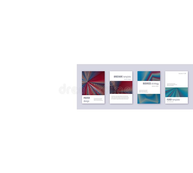 Grupo do molde do projeto do folheto de Minimalistic Abs vermelho ilustração do vetor