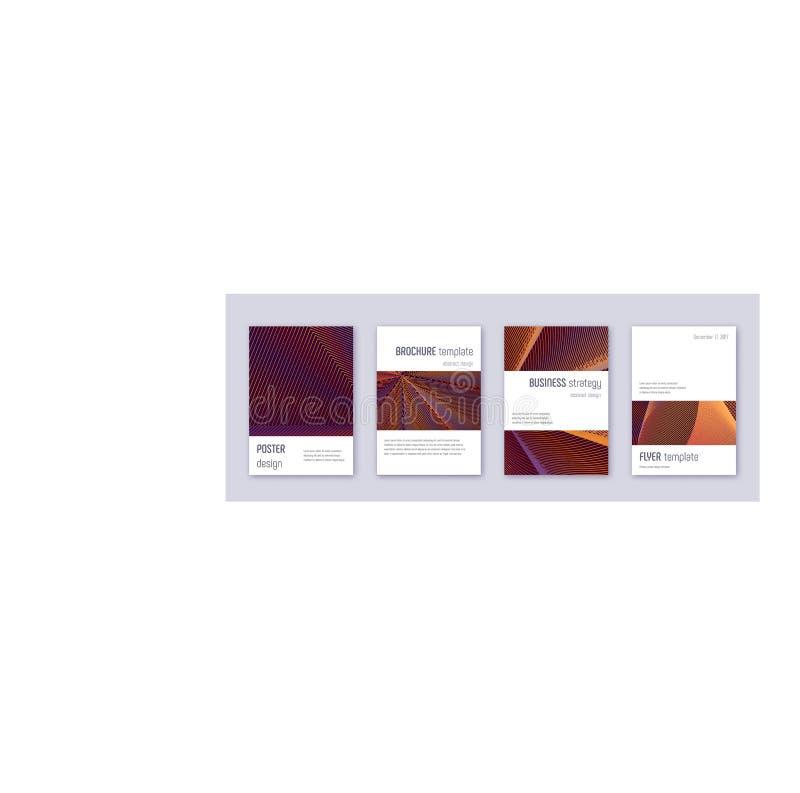 Grupo do molde do projeto do folheto de Minimalistic Alaranjado ilustração stock