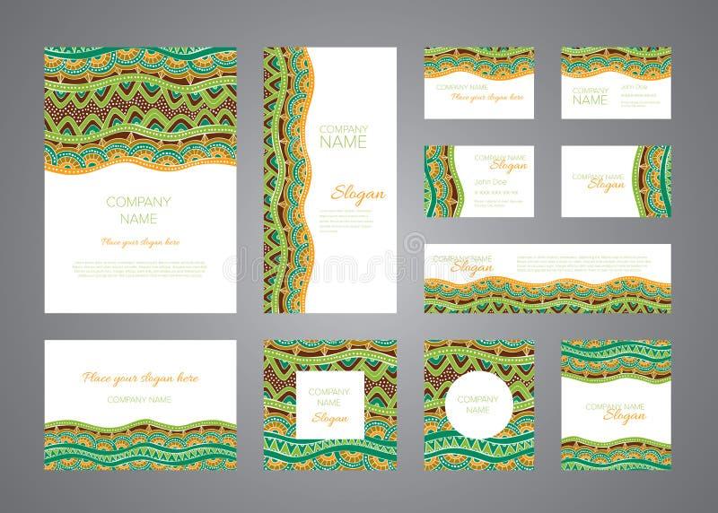 Grupo do molde do vetor do projeto da identidade Ornamento verdes, marrons e alaranjados do mosaico ilustração stock