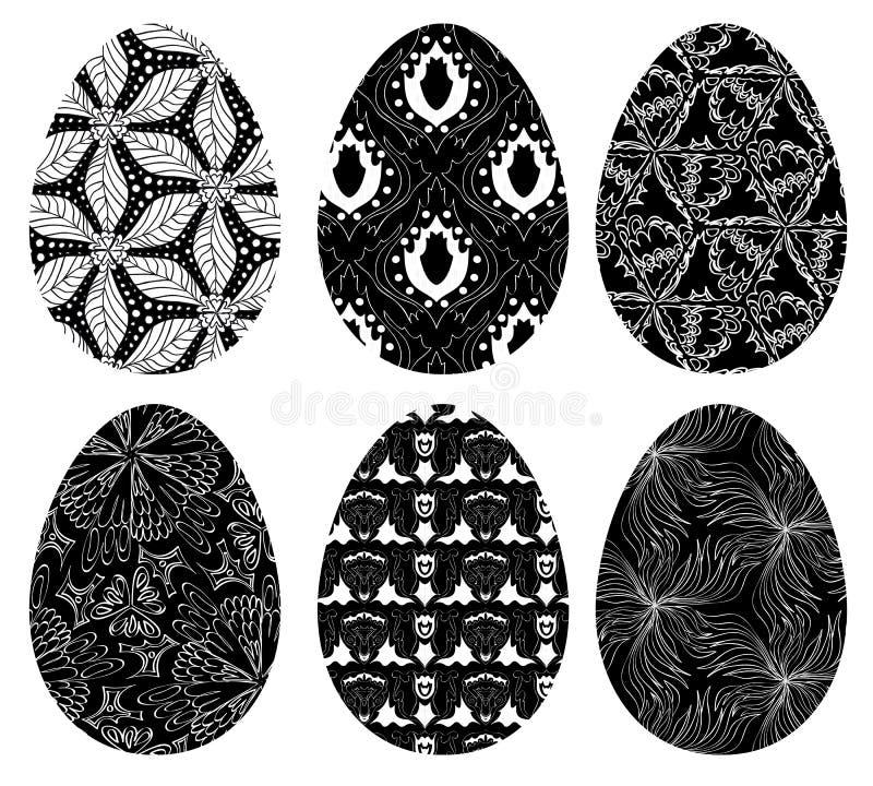 Grupo do Monochrome de ovos da páscoa com teste padrão 4 ilustração do vetor
